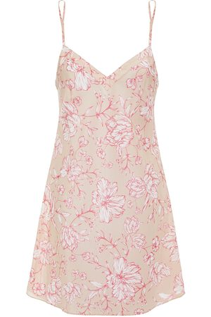 GINIA Women Nightdresses & Shirts - Woman Floral-print Cotton And Silk-blend Chemise Blush Size 10