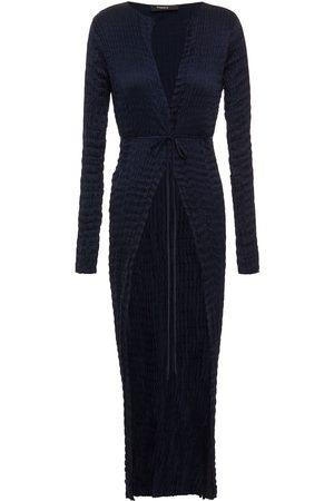 THEORY Women Cardigans - Woman Belted Plissé-satin Cardigan Navy Size S