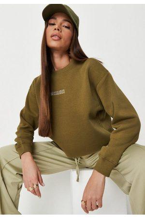 Missguided Tall Khaki Cropped Sweatshirt, Kahki