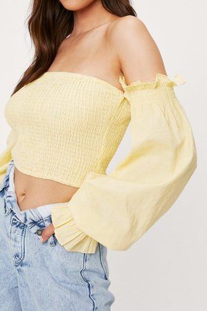 NASTY GAL Women Crop Tops - Womens Shirred Off the Shoulder Cropped Blouse
