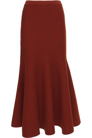 GABRIELA HEARST Women Midi Skirts - Olive Wool Knit Rib Midi Skirt