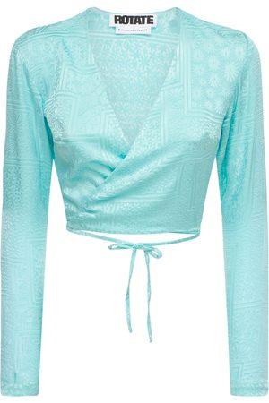 ROTATE Women Wrap Tops - Jeanette Viscose Blend Satin Wrap Top