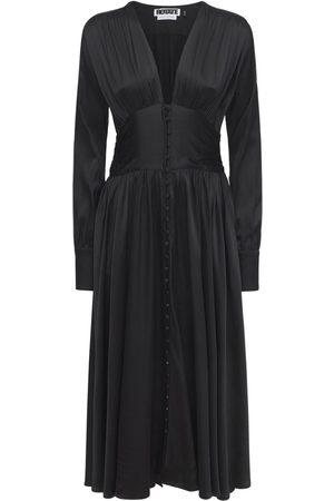 ROTATE Tracy Long Sleeve Satin Midi Dress