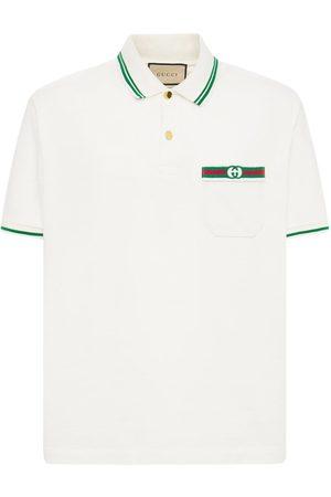 Gucci Men Polo Shirts - Logo Web Cotton Polo