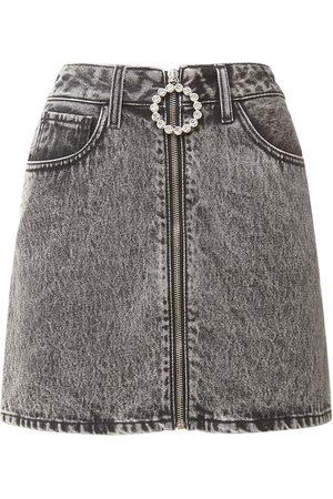 Alessandra Rich Women Mini Skirts - Embellished Cotton Denim Mini Skirt