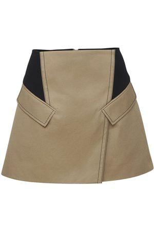 DION LEE Cotton Canvas Mini Skirt W/knit Details