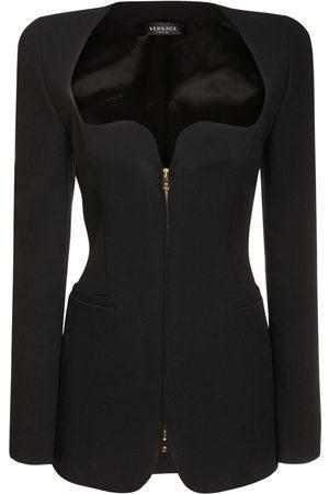 VERSACE Heart Neck Zip-up Crepe Mini Dress