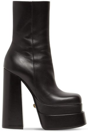 VERSACE Women Ankle Boots - 155mm Platform Leather Ankle Boots
