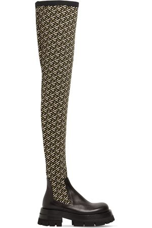 VERSACE 60mm Stretch Knit & Leather Boots