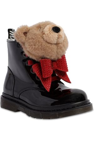 MONNALISA Girls Boots - Patent Leather Boots W/ Teddy