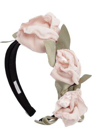 MONNALISA Headband W/ Velvet Flower Appliqués