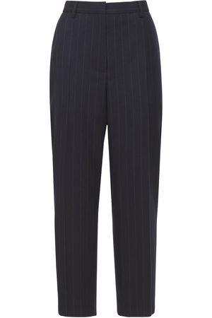 Prada Women Formal Trousers - Cropped Pinstripe Wool Straight Pants