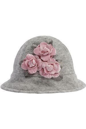 MONNALISA Girls Hats - Wool Blend Hat W/ Flower Appliquès