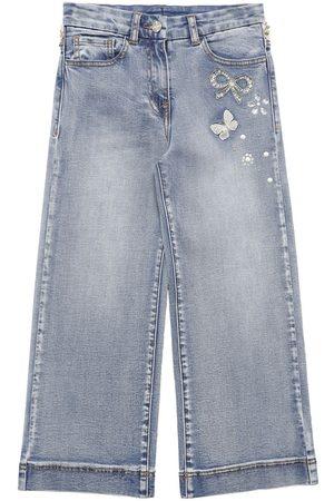 MONNALISA Embellished Wide Leg Cotton Jeans