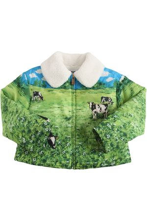 Moschino Girls Jackets - All Over Print Zip-up Nylon Jacket