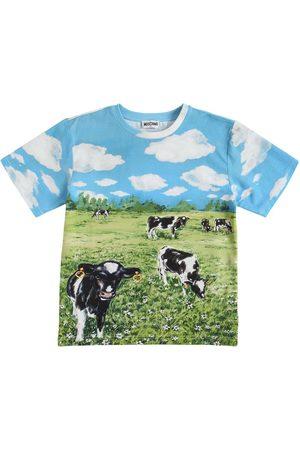 Moschino Girls T-shirts - All Over Print Oversize Jersey T-shirt