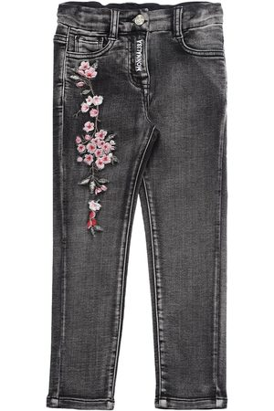 MONNALISA Embroidered Stretch Denim Effect Pants