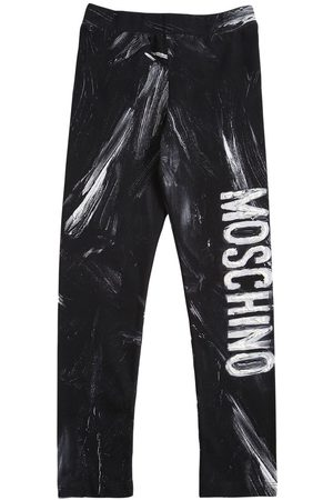 Moschino Girls Trousers - Printed Cotton Blend Leggings