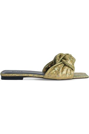 By Far 10mm Lima Metallic Leather Slide Sandals