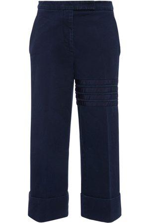 Thom Browne Women Trousers - Cotton Twill Grosgrain Bars Crop Pants