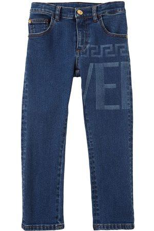 VERSACE Logo Print Cotton Jeans