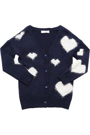 MONNALISA Hearts Viscose Blend Knit Cardigan