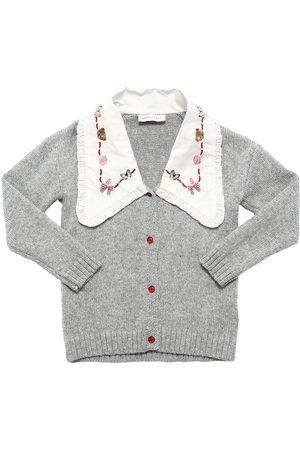 MONNALISA Viscose Blend Knit Cardigan W/ Collar