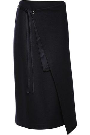Jil Sander Women Midi Skirts - Wool Jersey Wrap Midi Skirt