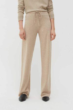 Chinti & Parker UK Oatmeal Cashmere Wide-Leg Pants