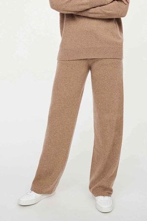 Chinti & Parker UK Wide Leg Trousers - Camel Cashmere Wide-Leg Pants