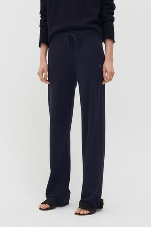 Chinti & Parker UK Wide Leg Trousers - Navy Cashmere Wide-Leg Pants