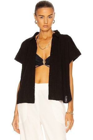 Citizens of Humanity Penny Short Sleeve Blouse in Ebony