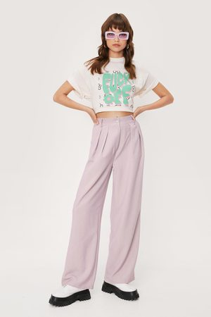 NASTY GAL Womens Pleated Front Wide Leg Trousers