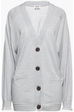 ACNE STUDIOS Women Cardigans - Woman Mélange Wool Cardigan Gray Size L