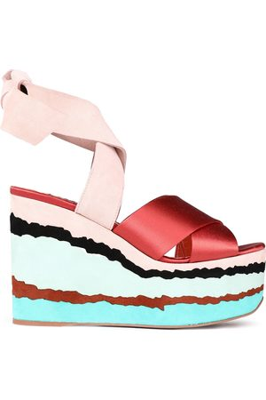Missoni Woman Suede And Satin Wedge Sandals Brick Size 36