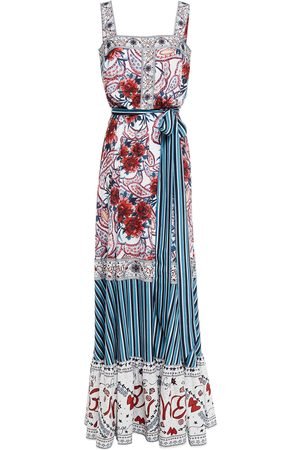 Badgley Mischka Woman Belted Printed Crepe De Chine Gown Size 10