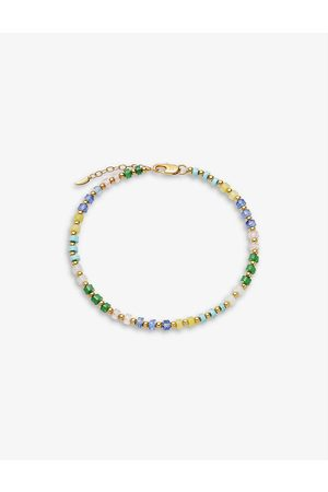 Missoma Women Bracelets - Multi-coloured 18ct yellow -plated brass and beaded anklet