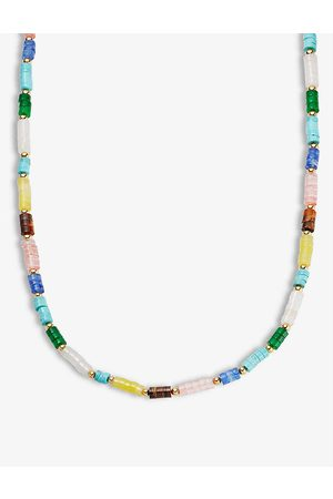 Missoma Multi-coloured 18ct yellow -plated brass bead necklace