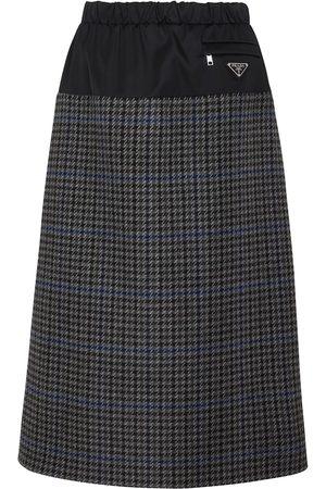 Prada Women Midi Skirts - Houndstooth wool and nylon midi skirt