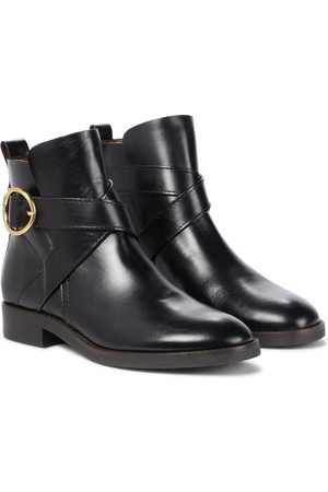 Chloé Lyna buckled leather ankle boots