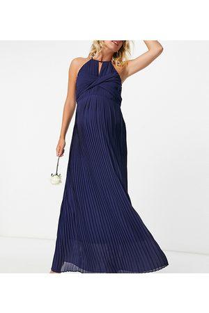 TFNC Women Maxi Dresses - Bridesmaid pleated wrap detail maxi dress in navy