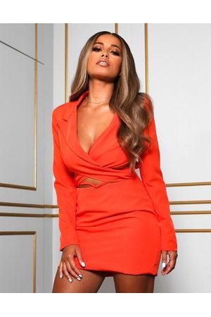 Public Desire Women Evening Dresses - X Amber Gill wrap detail cropped blazer dress with drop waist in