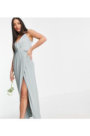 TFNC Tall Bridesmaid satin halterneck top maxi dress in sage