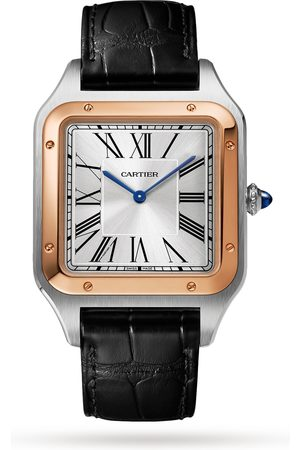 Cartier Santos-Dumont Watch Extra-large Model, Hand-Wound Mechanical Movement, Rose Gold, Steel, Leather