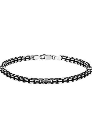 GOLDSMITHS Sterling Silver Mens 8 Inch Oxidised Box Bracelet