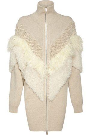 STELLA MCCARTNEY Faux Fur Wool Knit Zip-up Coat