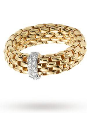 FOPE Women Bracelets - 18ct Yellow Gold Vendome Flex'It 0.10ct Diamond Ring - Ring Size M