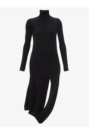 Bottega Veneta Slit-hem Rib-knitted Wool-blend Dress - Womens