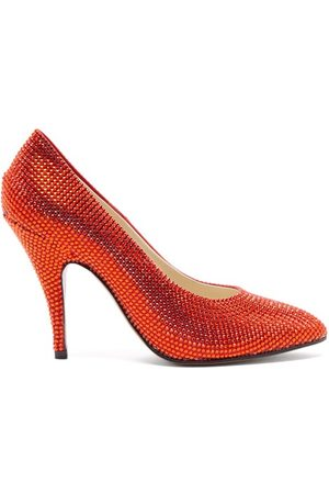 Salvatore Ferragamo Marilyn Crystal And Satin-faced Leather Pumps - Womens