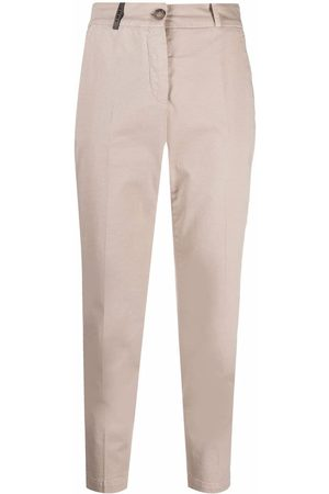 PESERICO SIGN Slim-fit cropped trousers - Neutrals